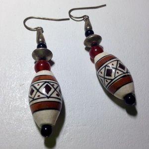 Jewelry - Women's Aztec Beaded Design Dangle Earrings